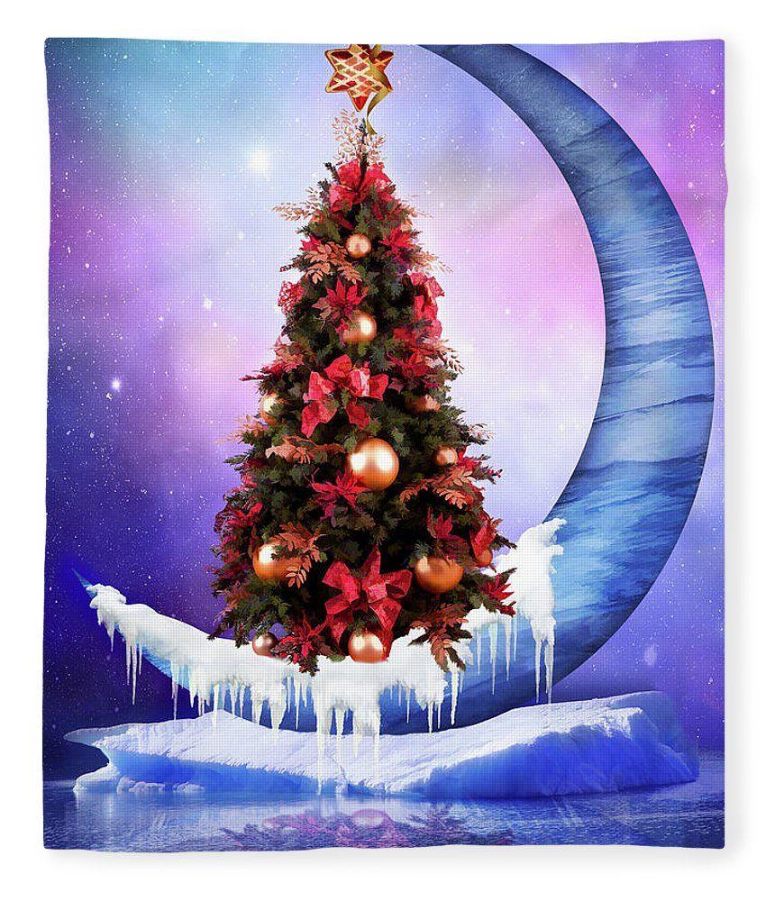 Frozen Moon With Christmas Tree Fleece Blanket For Sale By Mihaela Pater Kerst