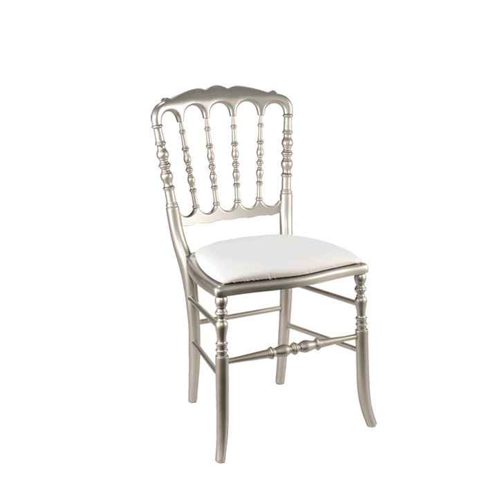 Chaise Napoleon III Acier Fixe Chintz Blanc