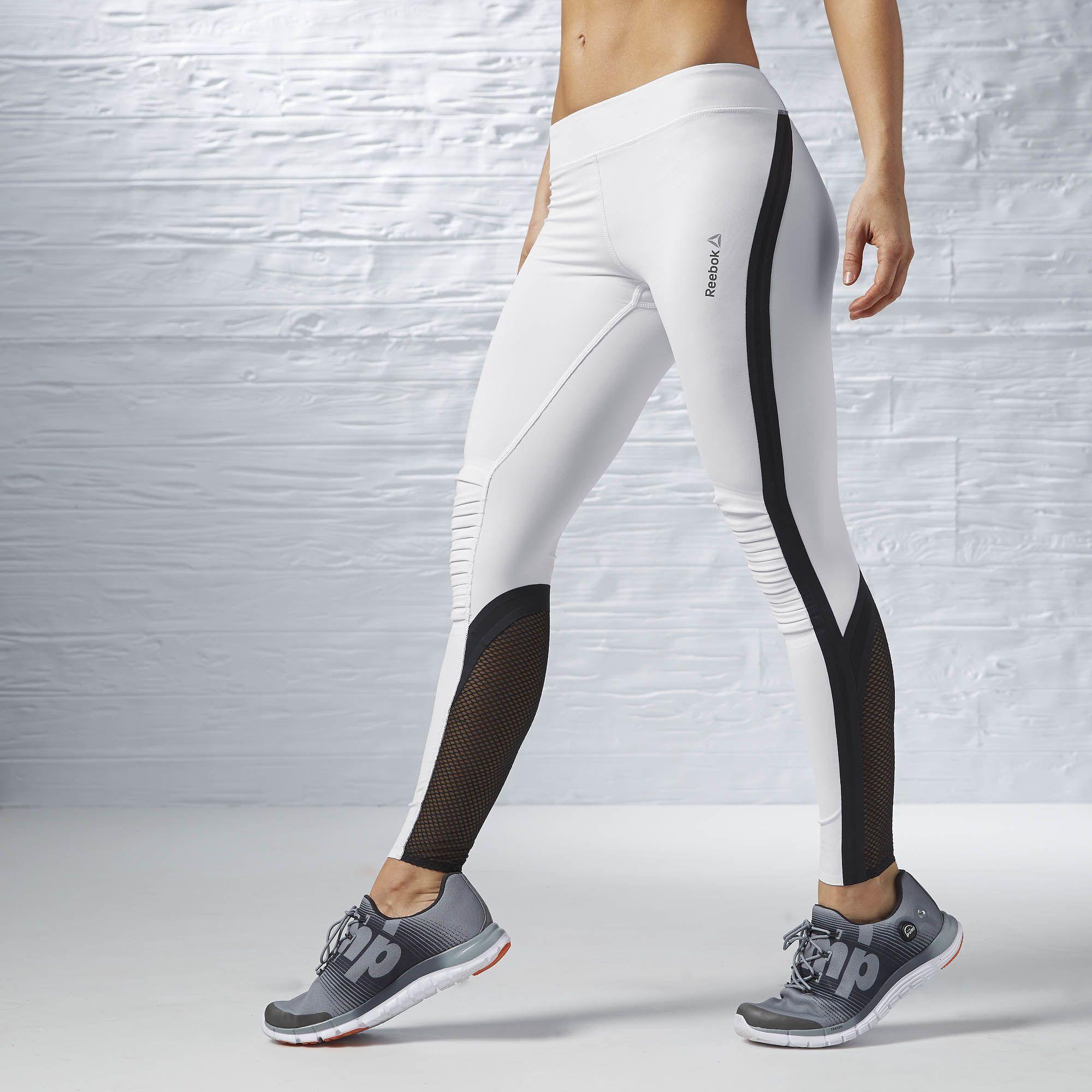 ba3df282520d2 Reebok Femmes Meshed Paneled Leggings - White