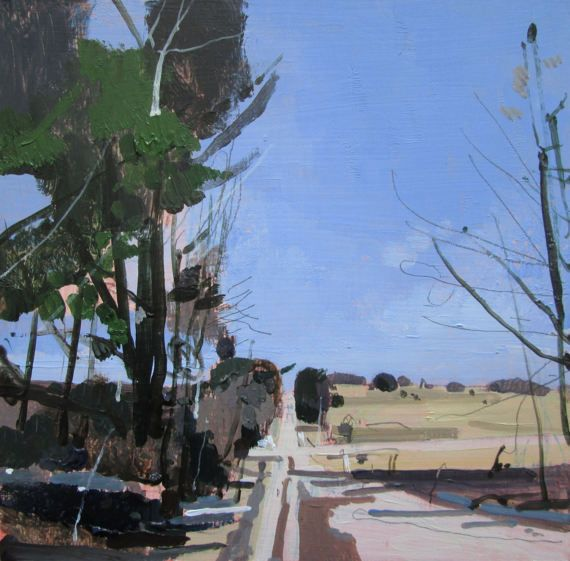 March Road Original Spring Landscape Painting on Panel by Paintbox
