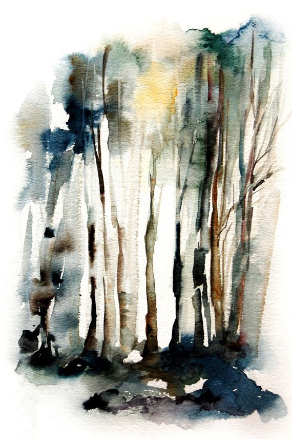 Forest Watercolor Painting Art Print 12x18 Abstract Trees Nature
