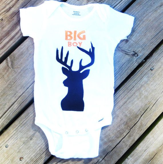 baby boy hunting deer bodysuit onesie fall by SmallWorldClothing, $20.00