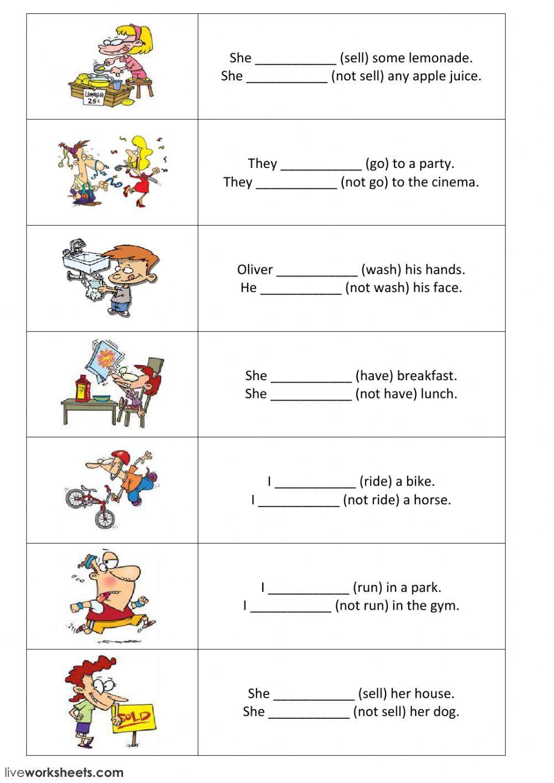 Present Simple Positive And Negative Sentences Part 2 Interactive Work Simple Present Tense Worksheets Simple Present Tense English Conversation For Kids