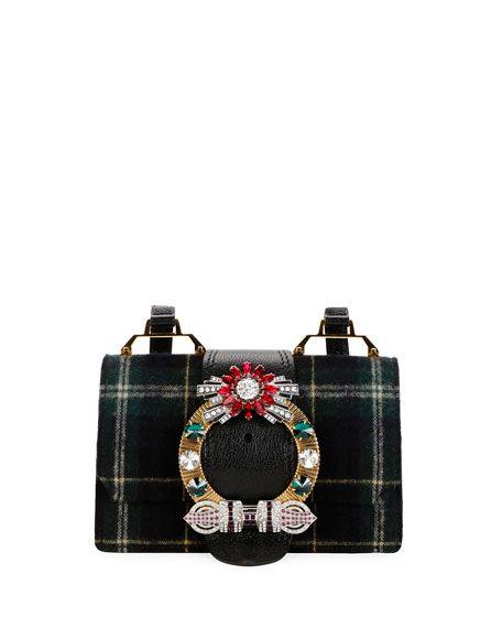MIU MIU Tartan Lady Box Bag, Blue, Blue Pattern. #miumiu #bags #shoulder bags #crystal #wool #