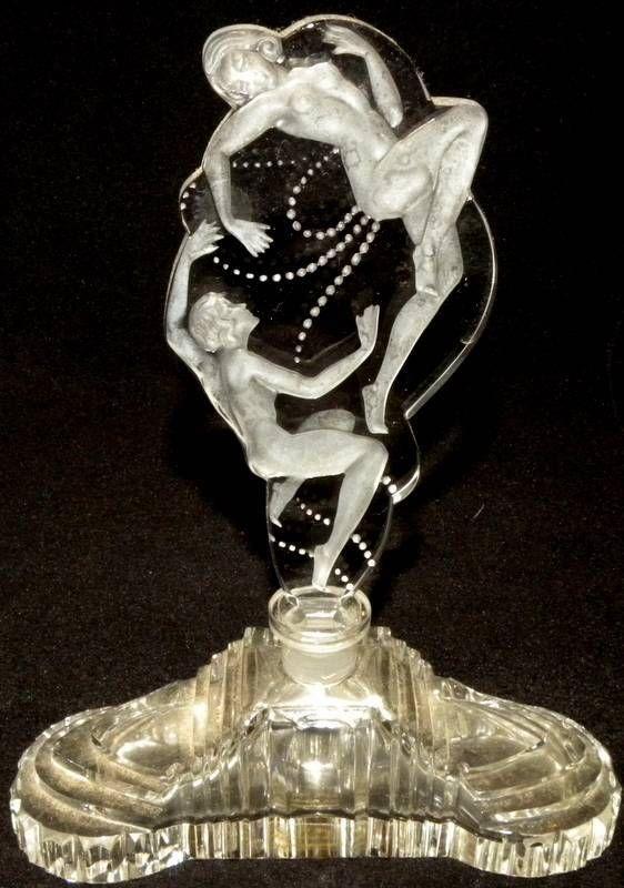 Art Deco C.I.O. Czech Republic cut crystal perfume bottle intaglio stopper in   eBay