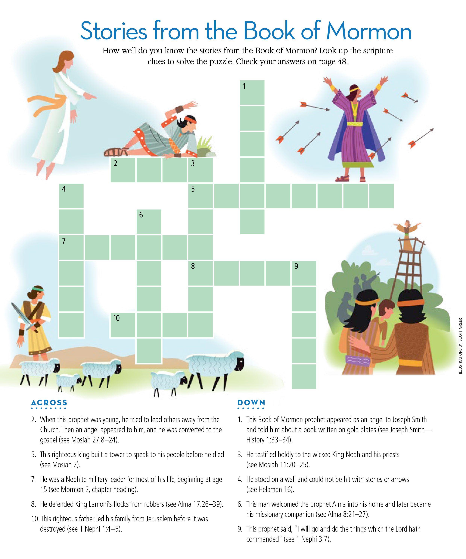 FHE idea: Book of Mormon crossword. | Church Ideas | Pinterest