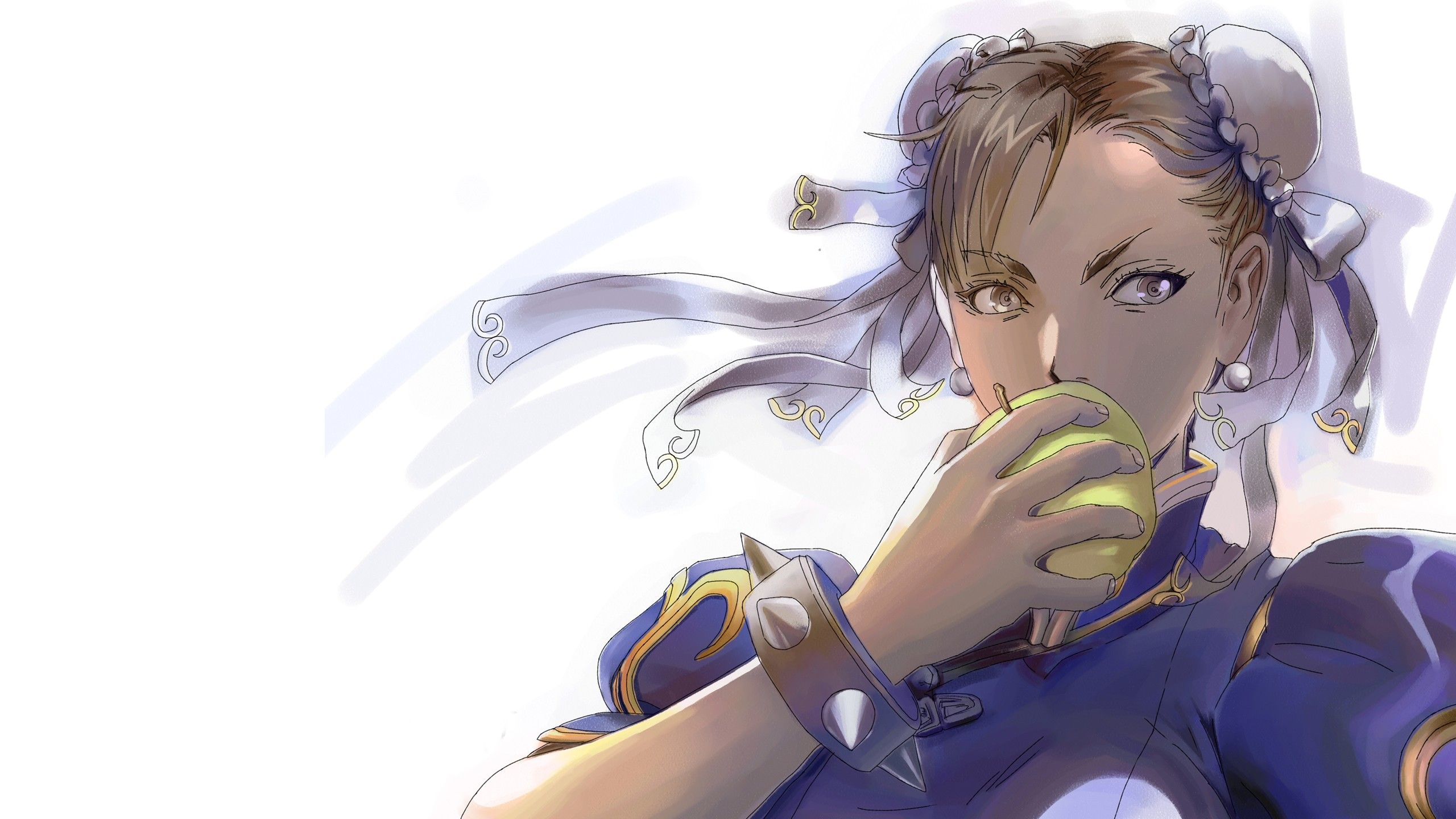 Street Fighter Anime Girls Eating Video Games Chun