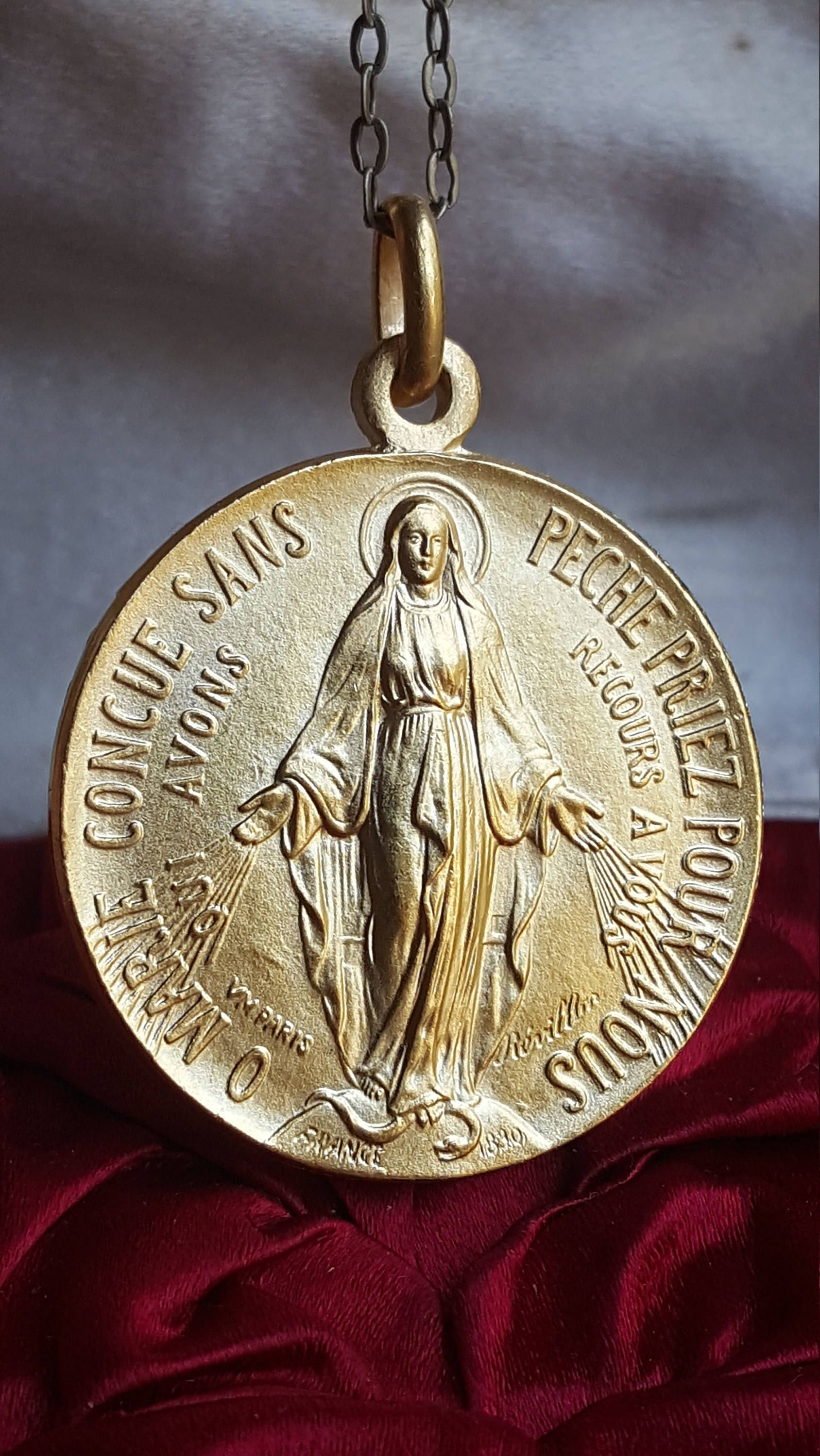 18k gold plated french miraculous medal pendant holy hearts 18k gold plated french miraculous medal pendant holy hearts immaculate heart sacred heart pendant blessed mother aloadofball Images