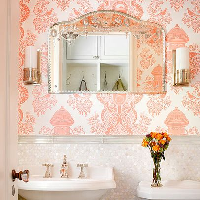 Pearl Shell tile with wallpaper