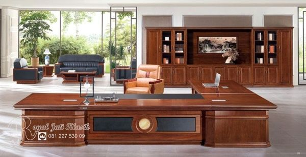 Set Meja Kantor Direktur Sudut Lebar Minimalis Royal Jati