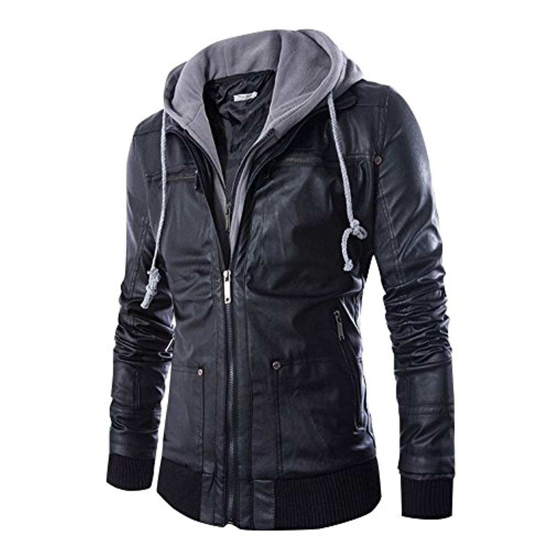 Men's Faux Leather Jacket Hooded Casual Moto Jacket