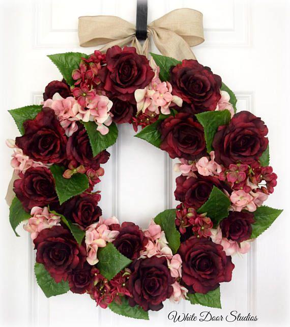 Rose and Hydrangea Wreath Front Door Wreath Summer Wreath White