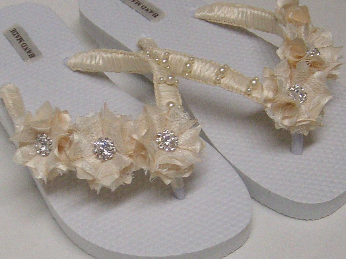 bcf746d2abc5aa Ivory Bridal Flip-Flops   Wedding Ivory Flip Flops   Flowers Flip Flops    Pearl - Rhinestones Flip Flops..  37.00