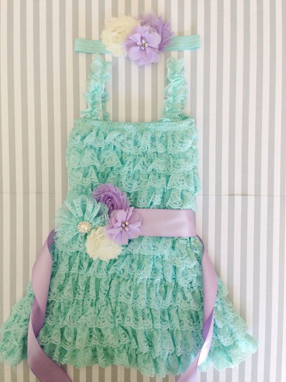 Baby Girl Lace romper-lavender aqua and gold 1st birthday outfit-purple and gold 1st birthday outfit-cake smash outfit-lavender lace romper