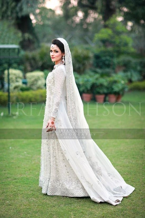 White pakistani wedding dress in 2019
