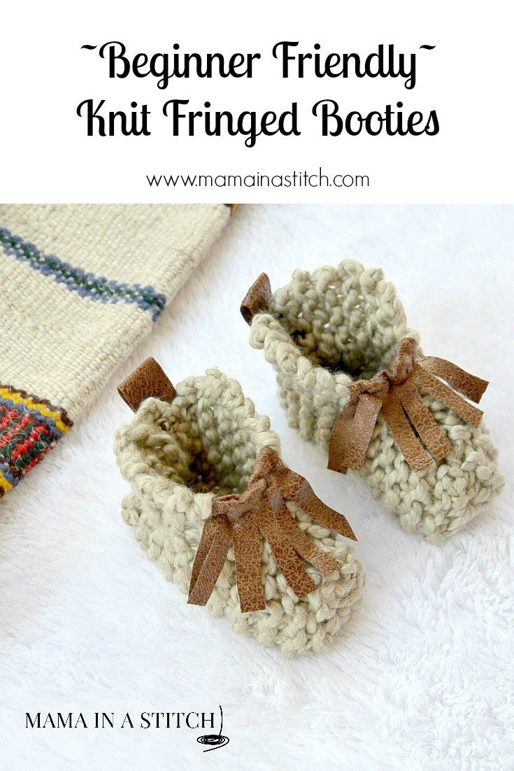 Beginner Knit Baby Booties \