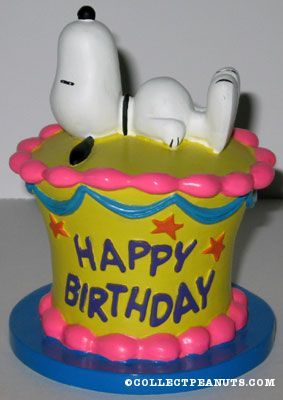 Peanuts Flambro Figurines Snoopy Birthday cakes and Woodstock