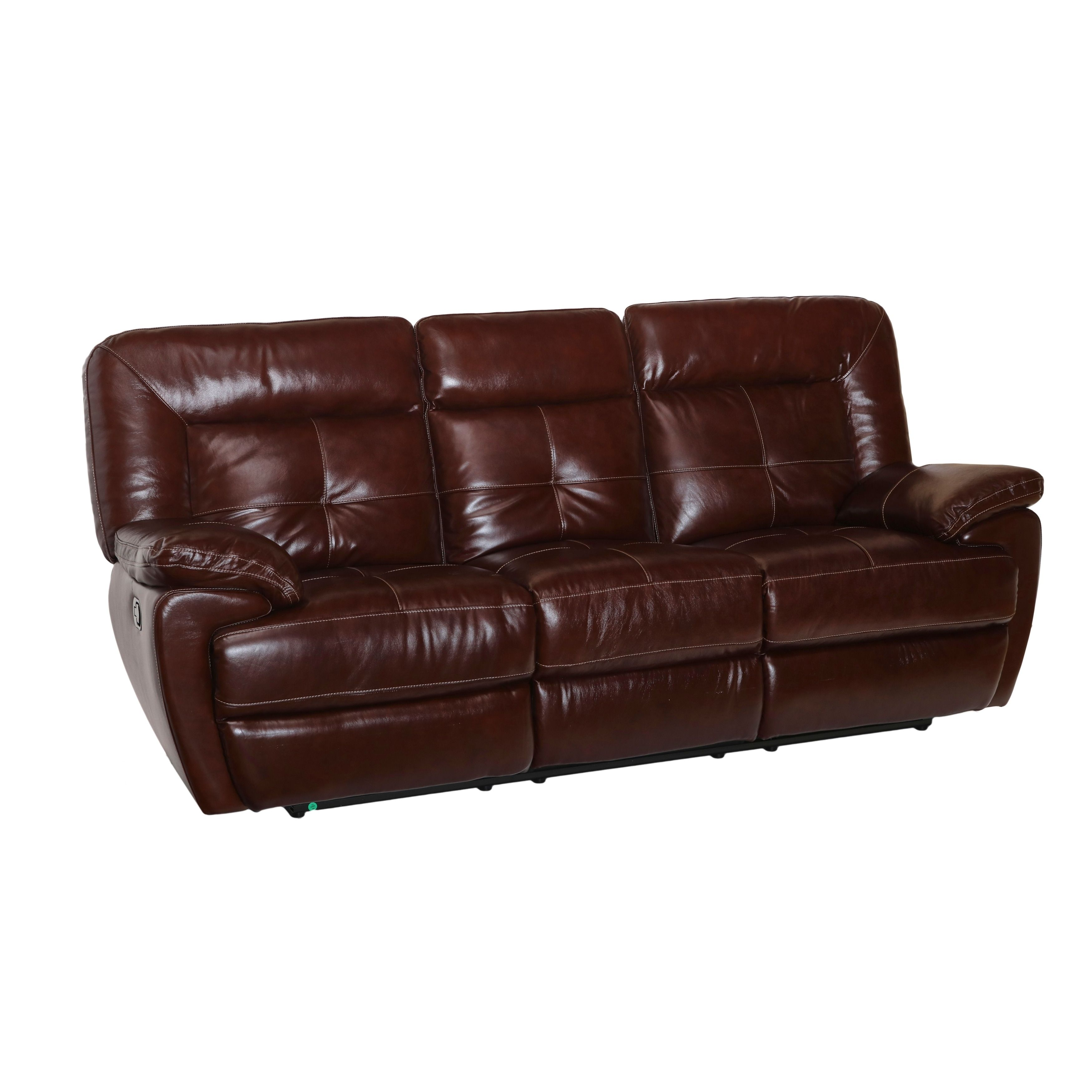 Common Home Edwin Brown Top Grain Leather Manual Power Reclining  ~ Crawford Top-grain Leather Reclining Sofa