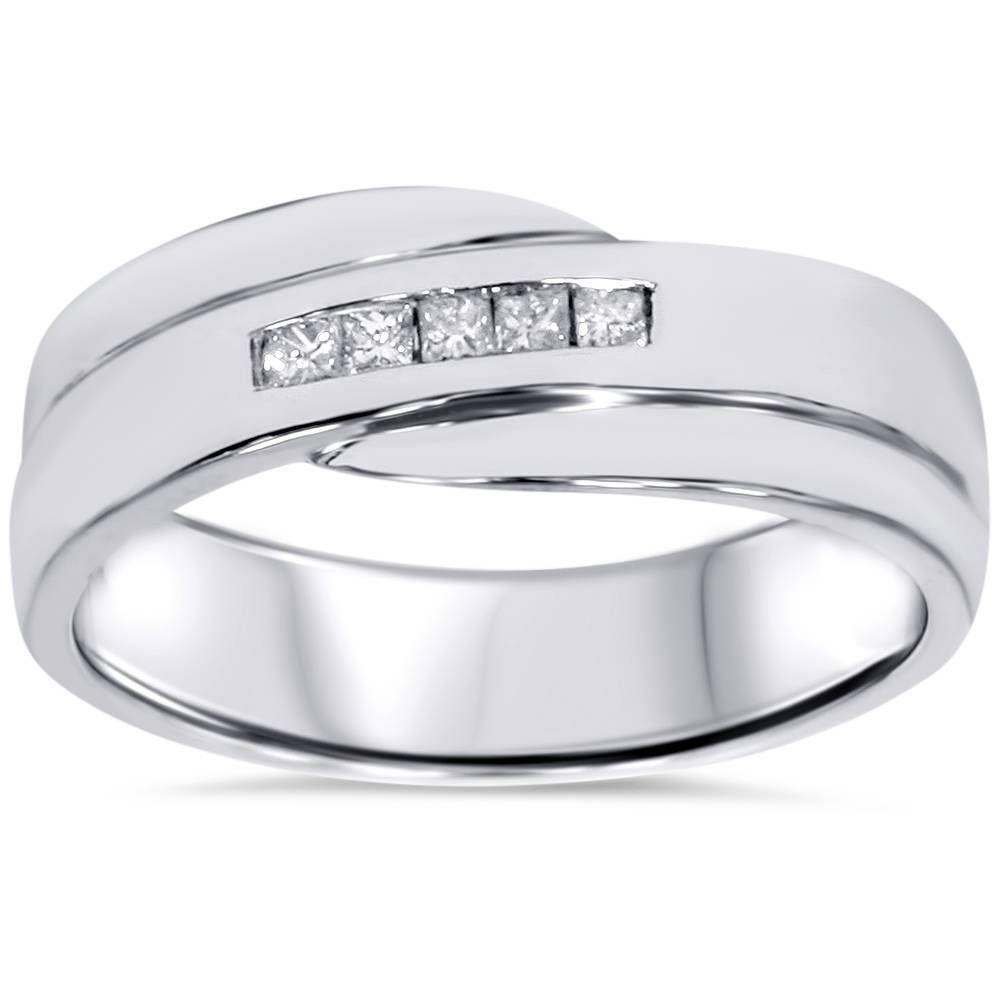 Stainless Steel CZ Channel Set Mens Black Wedding Band Ring 7MMFREE ENGRAVING