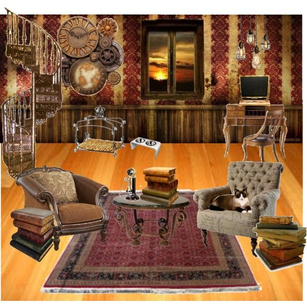 Steampunk living room by thedarkmuffin on polyvore for Steampunk living room ideas