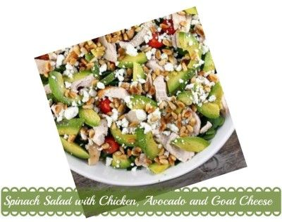 Spinach Salad with Chicken, Avocado and Goat Cheese Recipe