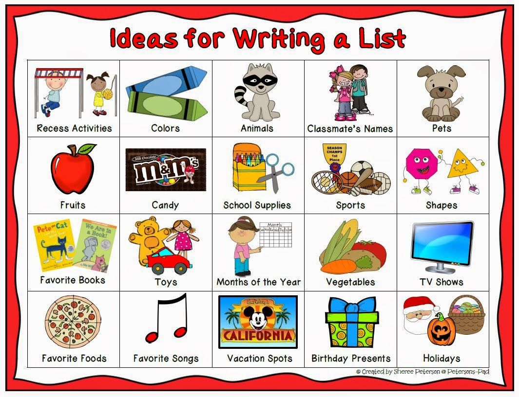 peterson s pad ideas for writing lists k writing peterson s pad ideas for writing lists