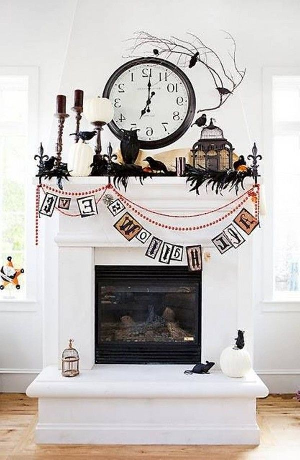fireplace halloween party decorating ideas 600x920 Spooky Easy - halloween party centerpieces ideas