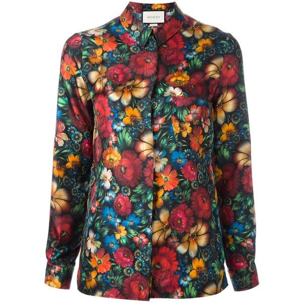 1bb94088d6f7 Gucci floral print shirt (20.245.335 VND) ❤ liked on Polyvore featuring tops,  pattern shirt, gucci, long sleeve tops, long sleeve shirts and collared  shirt