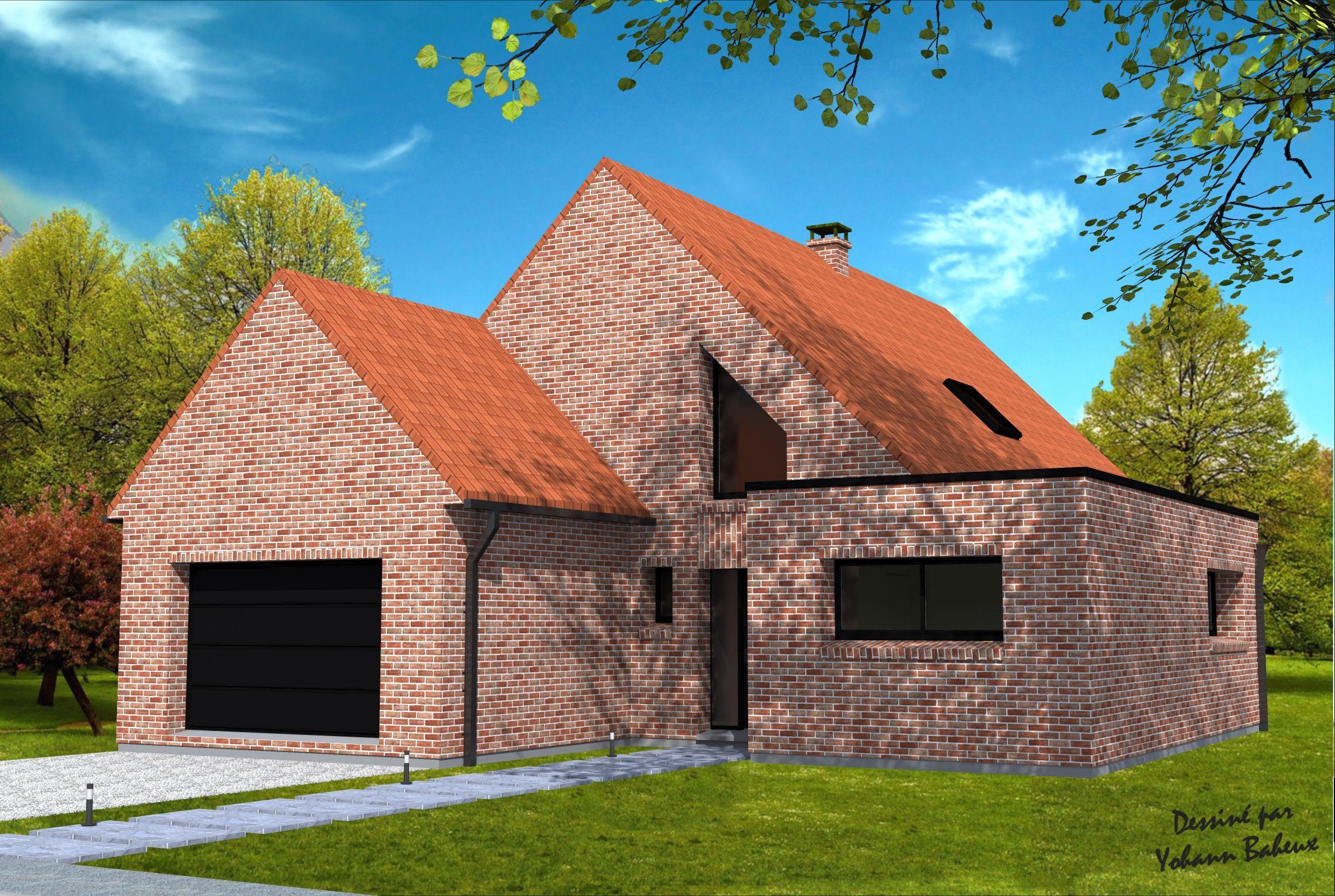 Maison avec pignon face la rue maison en projet maison plan maison et maitre d oeuvre - Voir sa maison de face ...