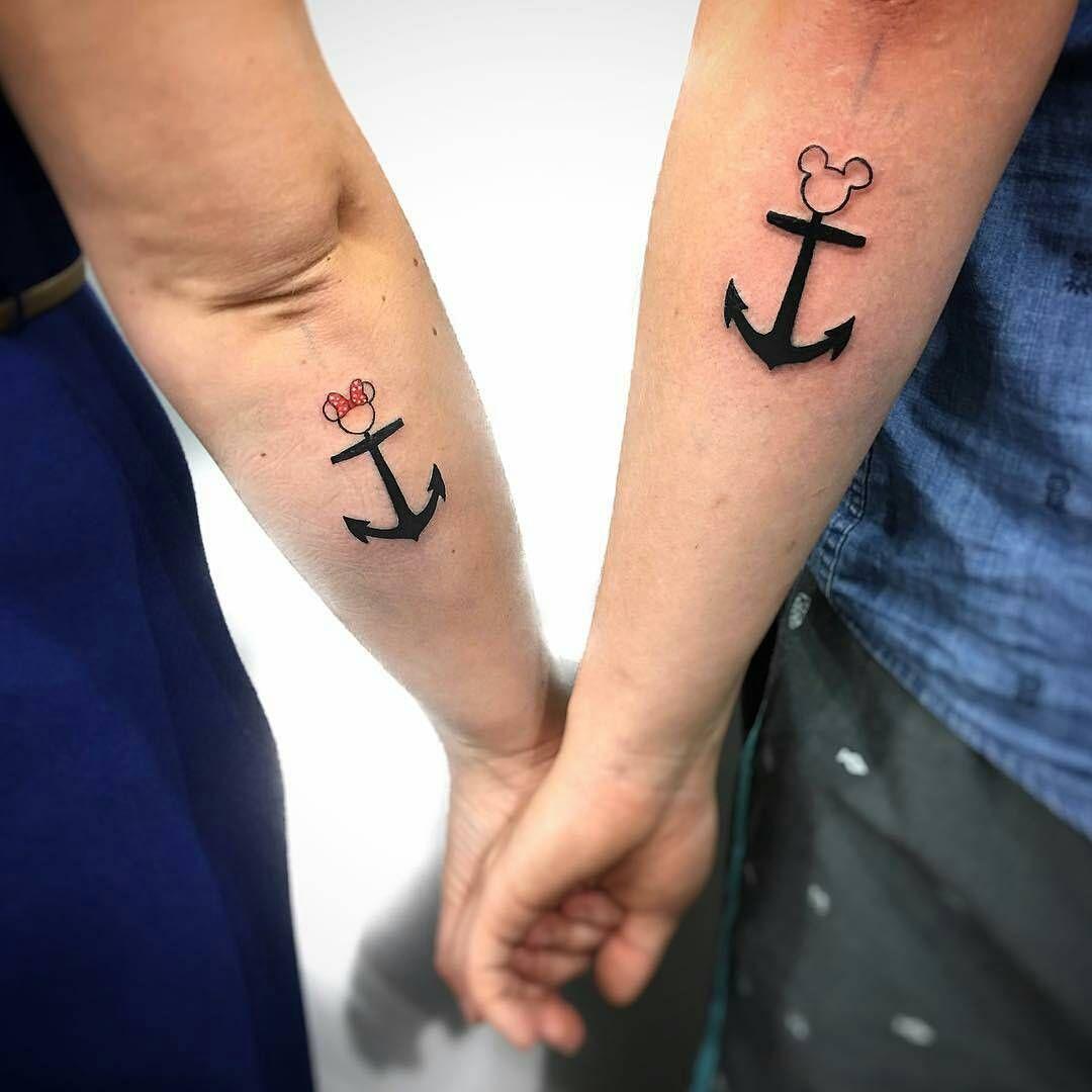 Anclas Minnie Y Mickey Mouse Con Imagenes Tatuajes De Parejas