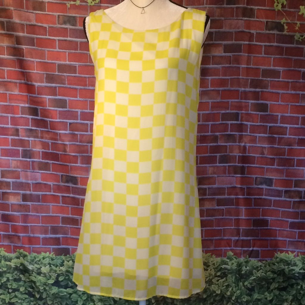 Point - Yellow And White Checkered Shift Dress