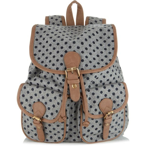 Accessorize Odette Tweed Spot Rucksack ($59) ❤ liked on Polyvore featuring bags, backpacks, accessories, bolsos, grey, polka dot backpack, gray bag, grey backpack, snap bag and rucksack bag