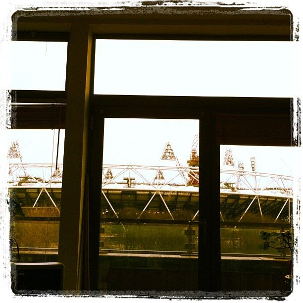 View from Lou's living room - #Olympic #Stadium #HackneyWick #London. Photo by @sparrow_tweets