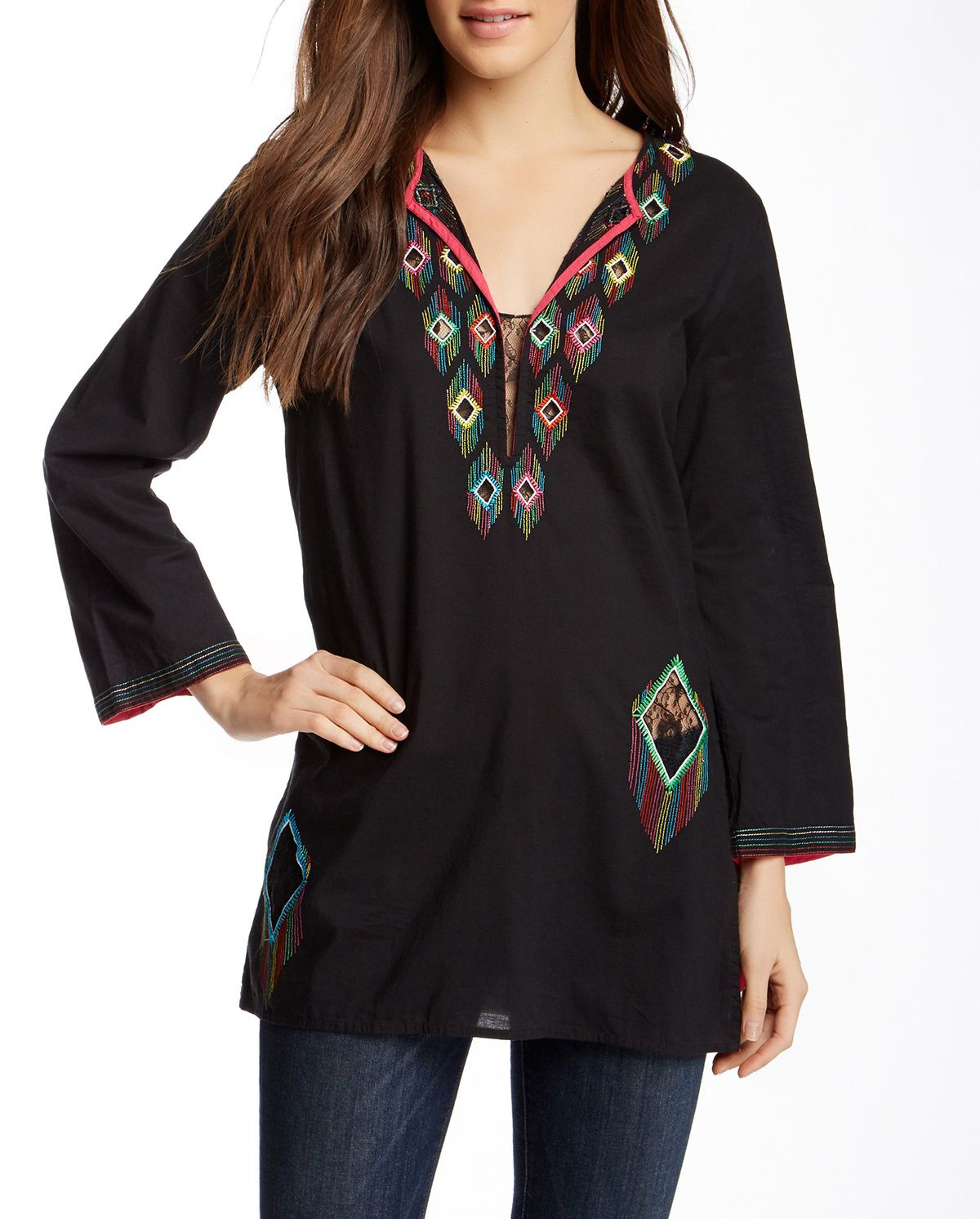 #Minnie #kasnewyork #top #black #tunic #colorful  #details #embroidery  Shop the look on KAS New York : http://kasnewyork.com/index.php?page=productslist&storeid=89&categoryID=1001&subcatID=&subsubcatID=&prodid=14066&sess=store89