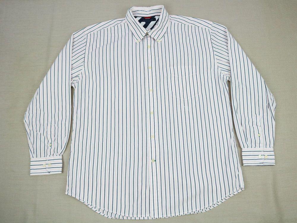 073e9495 Tommy Hilfiger Mens Shirt Dress XL White Pink Long Sleeve Stripe Button-Down  #TommyHilfiger #ButtonFront