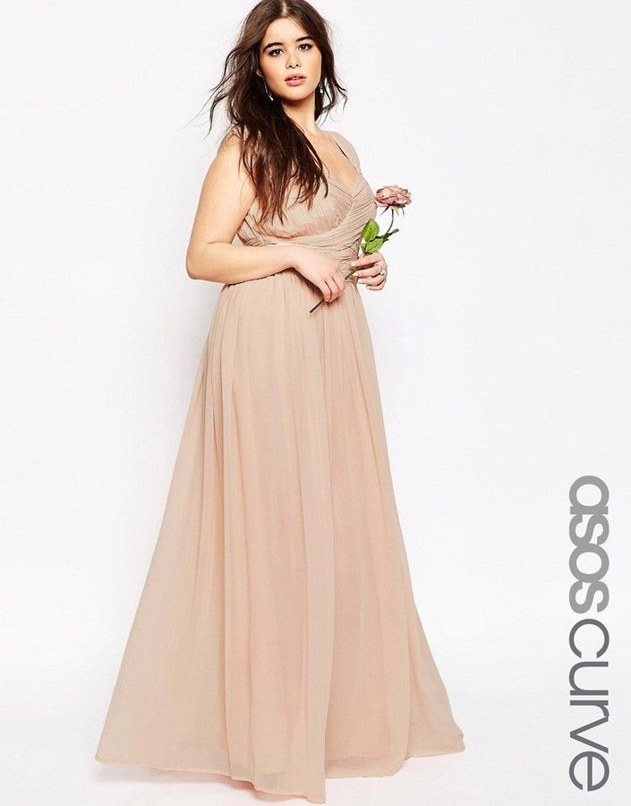 ASOS Curve ASOS CURVE WEDDING Maxi Dress With Ruched Panel, nude ...