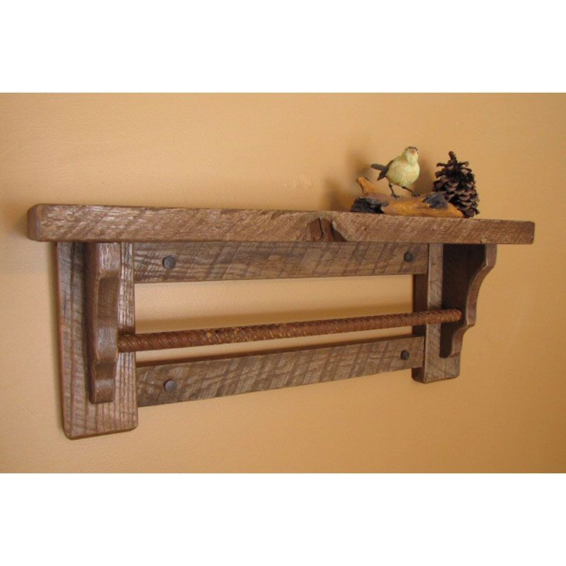 Image Of Country Shelf The Bathroom Towel Bar Wall Shelf Features A Rustic