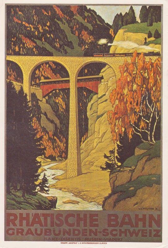 Ernst Emil Schlatter, Plakat fur Ratische Bahn, 1911. Plakatsammlung des Kunstgewerbemuseums Zurich.