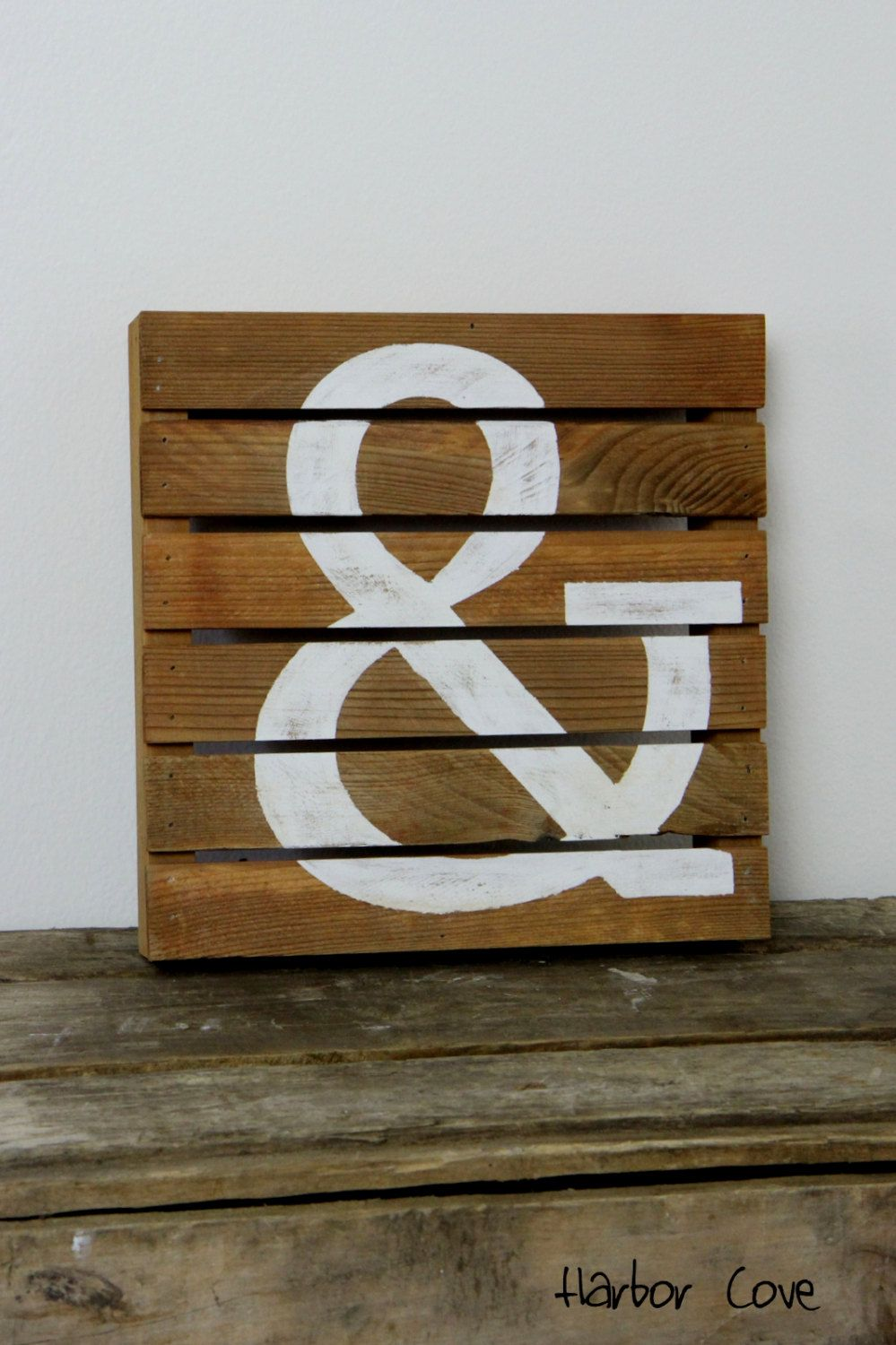 Ampersand rustic pallet wood sign in light stain by harborcove