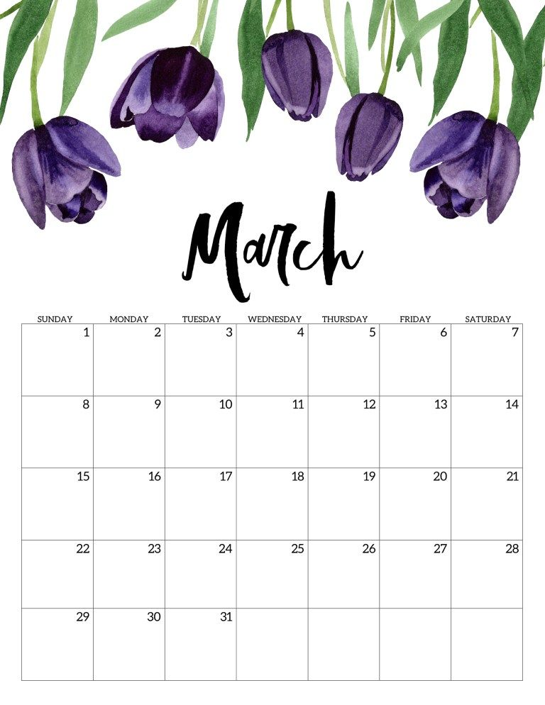 March 2020 Free Printable Calendar - Floral. Watercolor flower design calendar pages for a office or home calendar for work or family organization. #papertraildesign #calendar2020 #calendar #2020calendar #flowercalendar #floralprintables