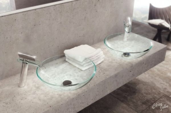 Badezimmer Stein Waschtisch Glas Spule Moderne Badezimmerideen Modernes Badezimmerdesign Modernes Badezimmer