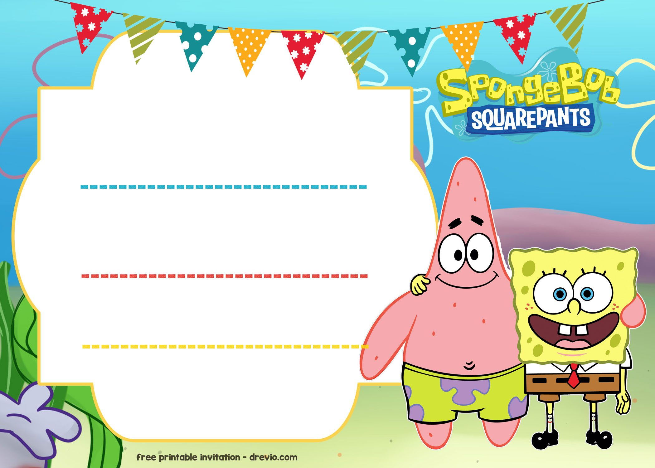 Nice FREE Spongebob Birthday Invitation Template