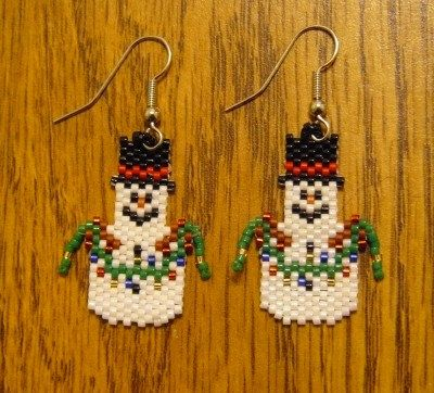 Snowman Holding Christmas Lights Beaded by DoubleACreations, $12.00