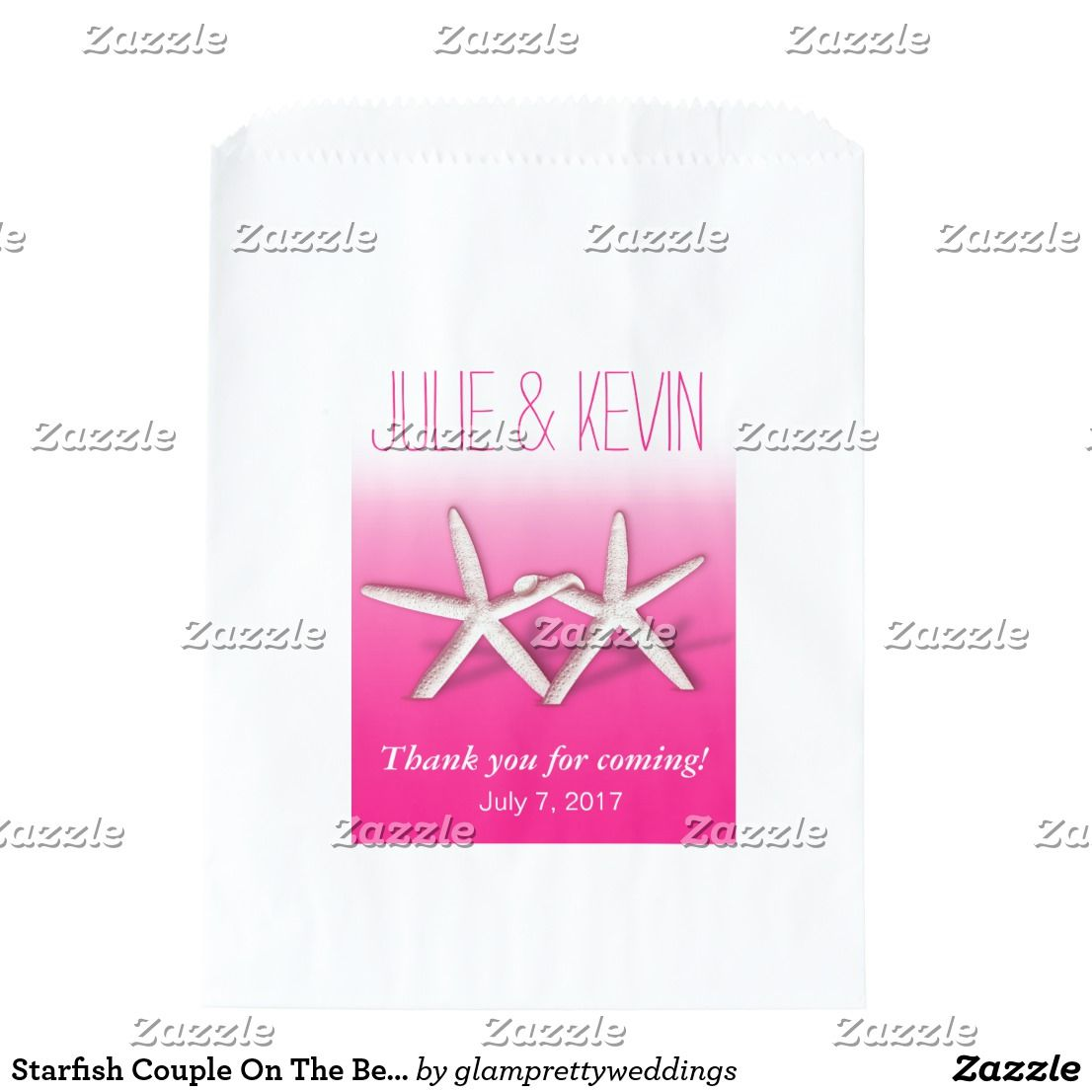 Starfish Couple On The Beach Wedding ombre fuchsia Favor Bag ...