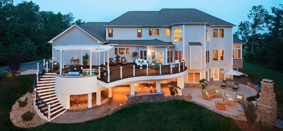 Under Deck Patio Ideas In Deck Traditional With Curved Railing Composite