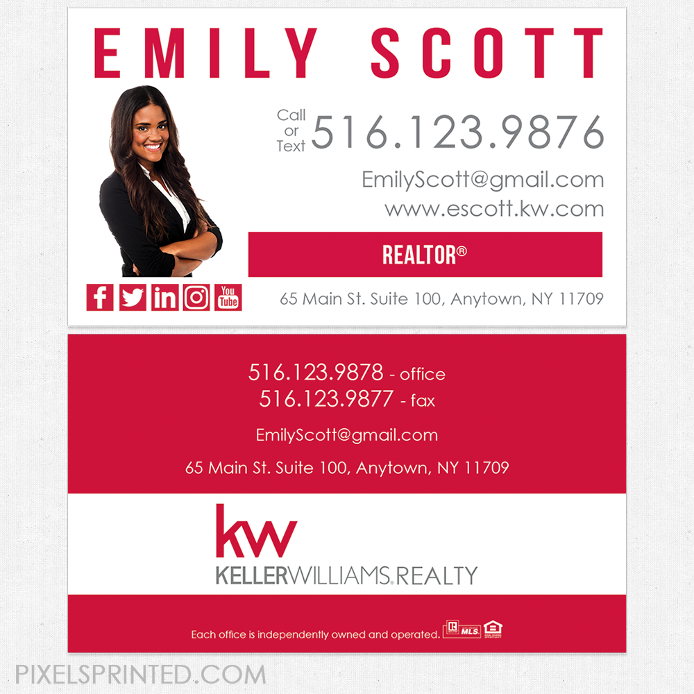 Keller Williams business cards, KW business cards, realtor business ...