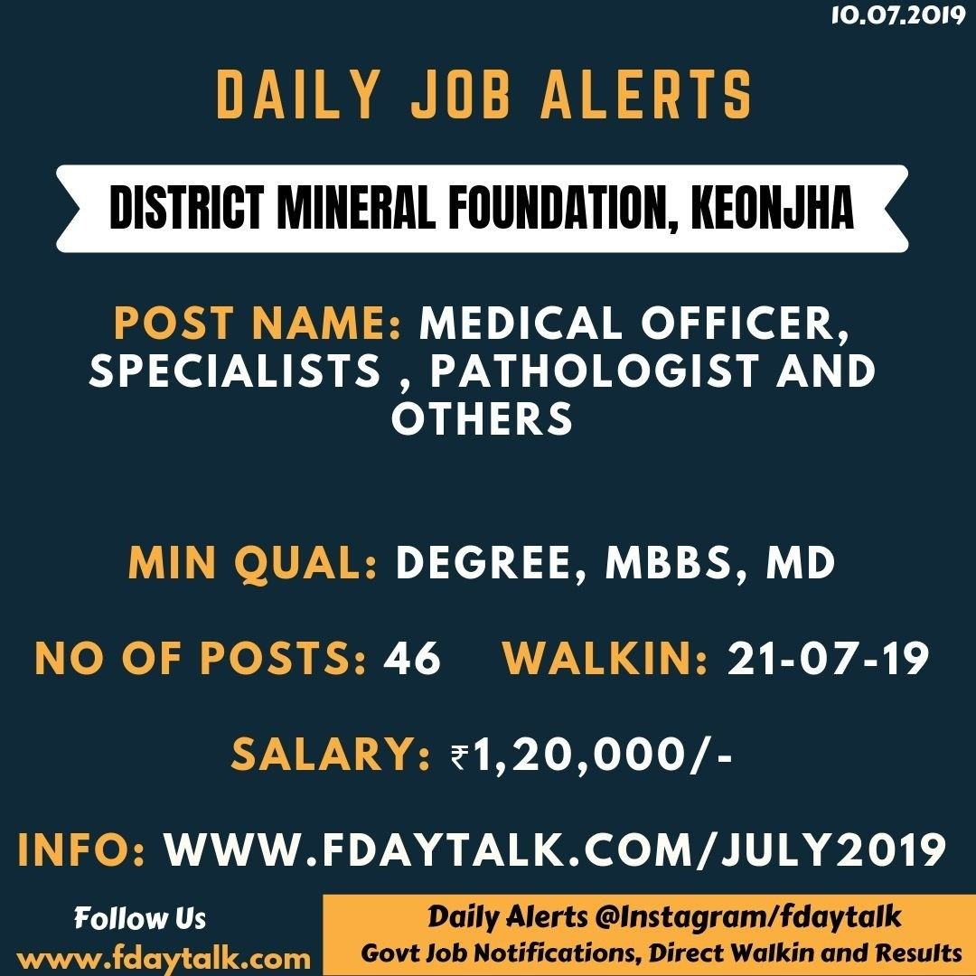 Tag Your Friend Who Need Of This Job 10 July Job Alerts Fdaytalk District Mineral Foundation Keonjha Post Name M In 2020 Job Seeker Mineral Foundation Job Search