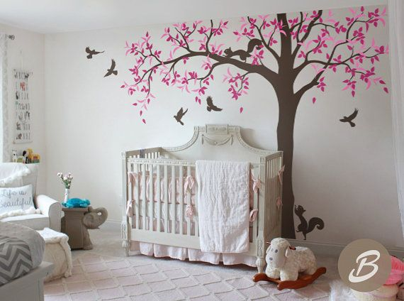 Ash Tree Wall Decal Wit Animals For Nursery Kids Room Sticker Removable Birds And Squirrel