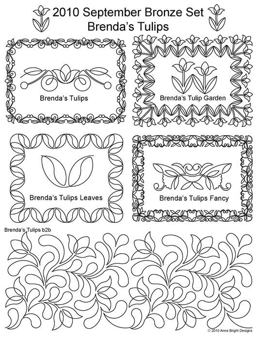 AnneBright.com - Shop | Category: Digitized Designs | Product: 2010 Sept Brendas Tulips Bronze Set