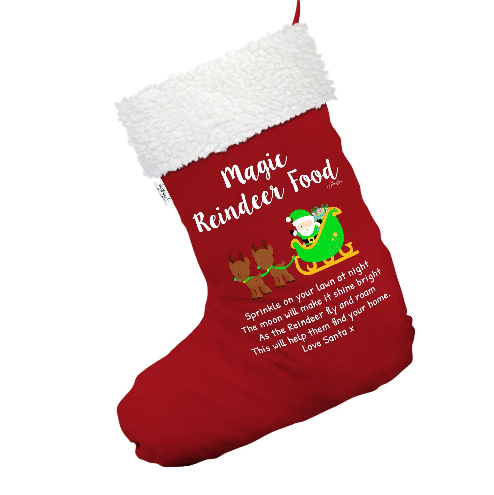 Magic Reindeer Food Red Deluxe Christmas Stocking With White Fur Trim